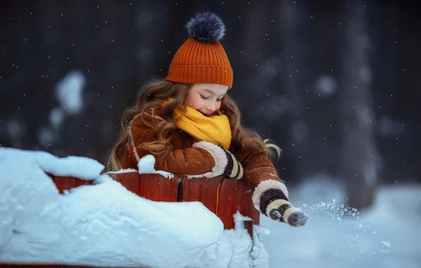 Picture winter, snow, mood, girl, cap, Любовь Пятовская