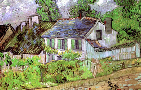 Picture trees, house, track, the bushes, Houses in Auvers 2