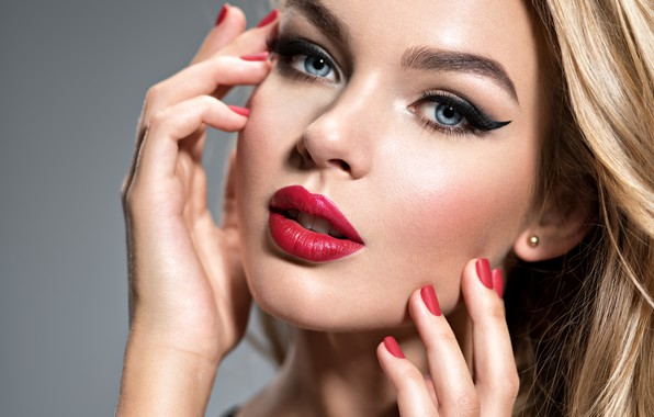 Picture girl, face, model, hands, makeup, lipstick, blonde, red, manicure