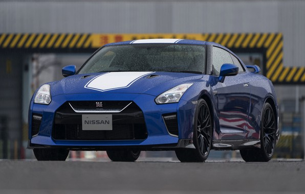 Picture blue, Nissan, GT-R, dampness, R35, 50th Anniversary Edition, 2020, 2019