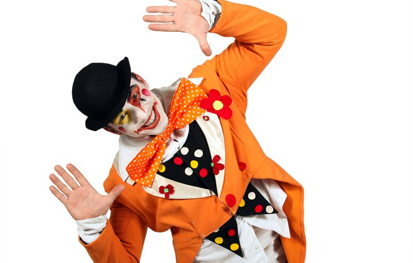 Picture pose, smile, mood, holiday, butterfly, hat, hands, clown, costume, outfit, white background, male, guy, jacket, …
