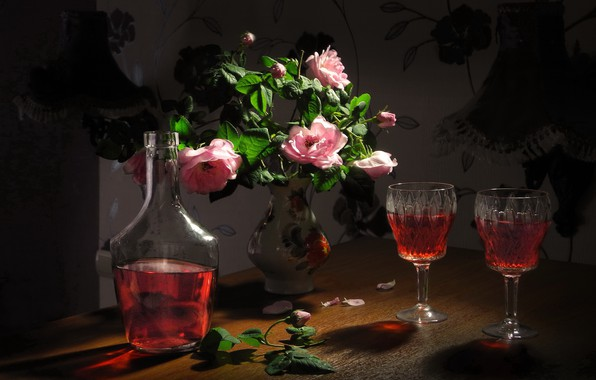 Picture flowers, roses, petals, glasses, vase, drink, still life, bottle, liqueur, Sergey Pounder