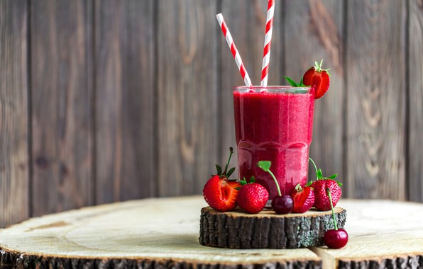 Picture cherry, glass, berries, strawberry, drink, smoothies