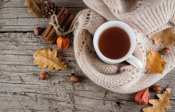 Picture autumn, leaves, background, tree, coffee, colorful, Cup, wood, background, autumn, leaves, cup, coffee, autumn