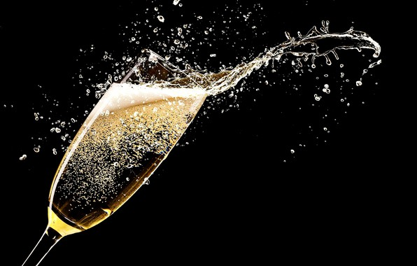 Picture drops, squirt, rendering, holiday, glass, splash, black background, champagne, picture, carbonated drink, sparkle glass, the ...