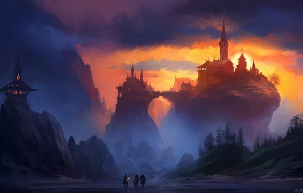Picture fantasy, twilight, sky, trees, landscape, sunset, mountains, clouds, rocks, horses, castle, digital art, knights, artwork, …