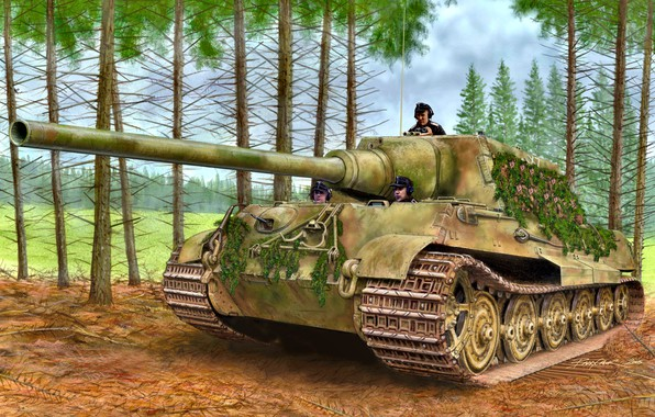 Picture forest, self-propelled artillery, heavy, Jagdtiger, German, tree branches, class tank destroyers, masking
