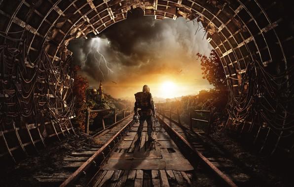 Picture road, clouds, metro, lightning, rails, art, Church, Stalker, Metro Exodus
