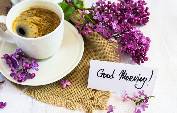 Picture coffee, bouquet, morning, Cup, lilac