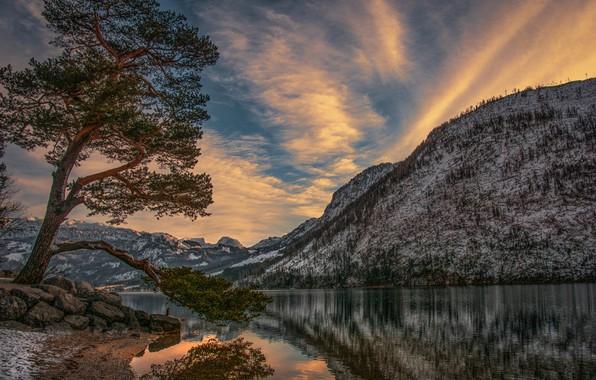 Picture landscape, sunset, mountains, nature, lake, stones, tree, Grundlsee, Grundlsee, Hubert Bichler, Avstrija