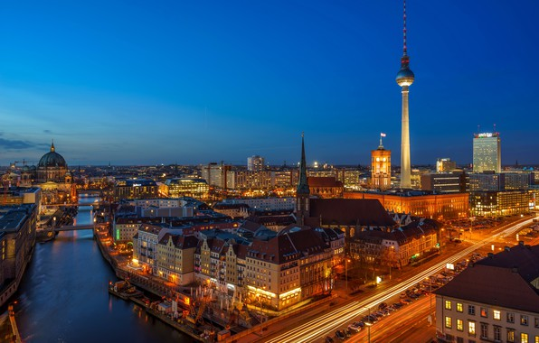Picture lights, the evening, Germany, Berlin