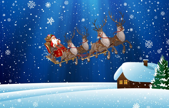 Picture Winter, Snow, House, Christmas, Snowflakes, Background, New year, Holiday, Santa Claus, Art, Deer, Santa Claus, …