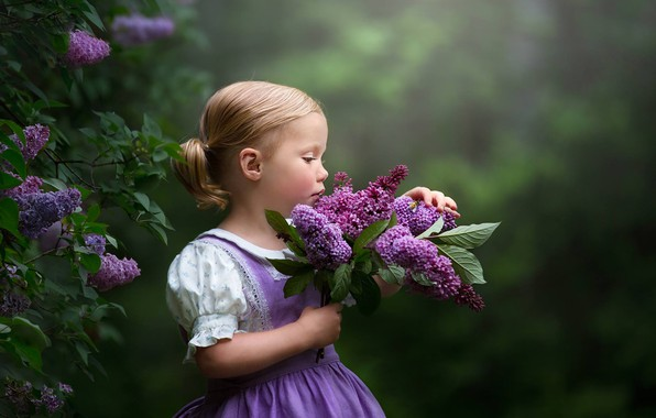 Picture mood, girl, lilac, bokeh