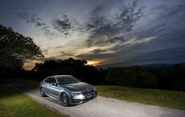 Picture the sky, sunset, grey, BMW, sedan, 530i, 5, four-door, 5-series, G30