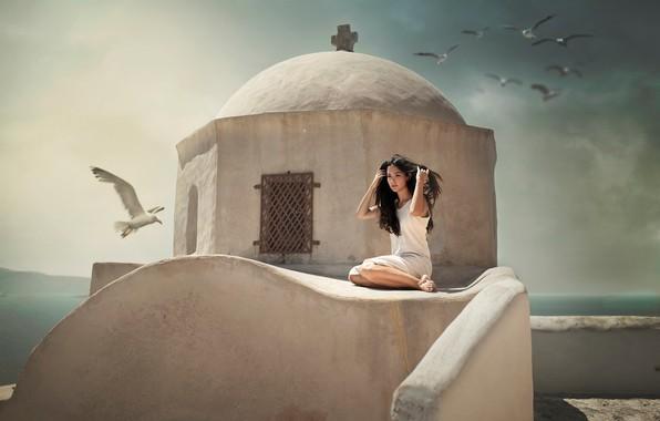 Picture sea, girl, birds, pose, mood, seagulls, chapel