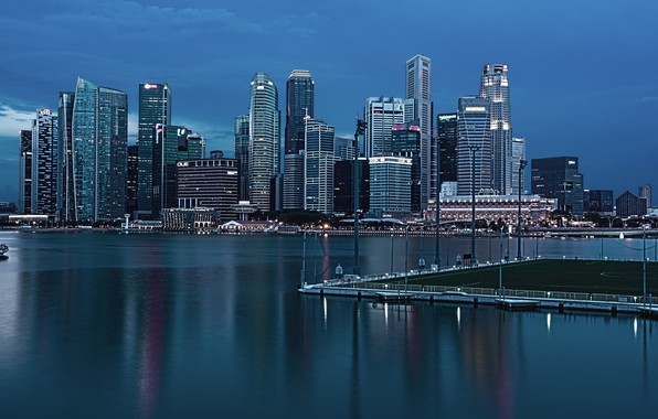 Picture nature, the ocean, The city, Singapore, megopolis