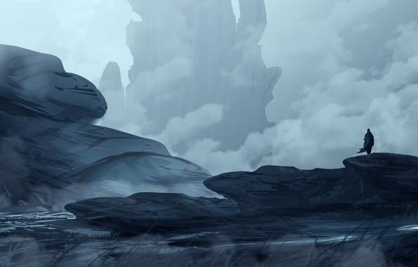 Picture Mountains, Figure, Rocks, People, Silhouette, Landscape, Art, Landscapes, Digital Art, TacoSauceNinja, by TacoSauceNinja, Borrowed Time