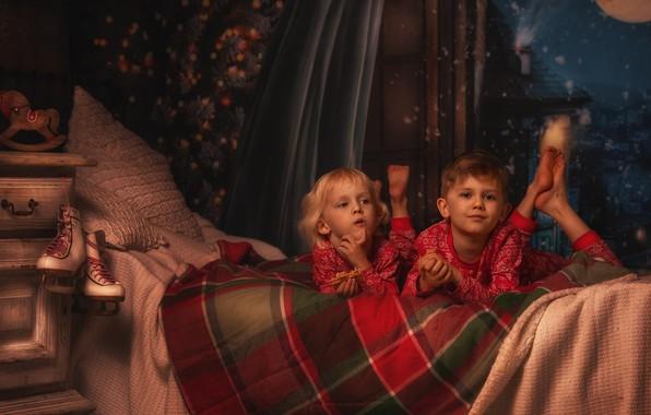 Picture night, children, room, bed, window, table, skates, Lisowska Monika