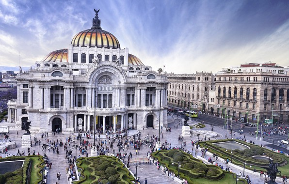 Picture the building, area, Mexico, Opera, Museum, the bushes, Mexico city, Palace of fine arts