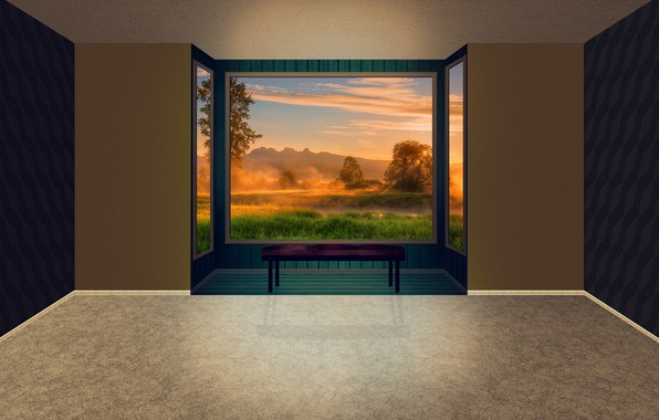 Picture sunset, room, window to nature, sad