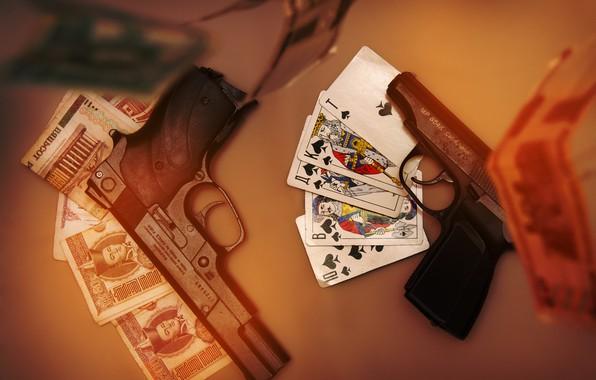 Picture card, money, 2 barrel