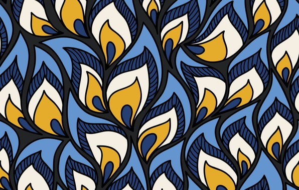 Picture white, leaves, blue, background, pattern