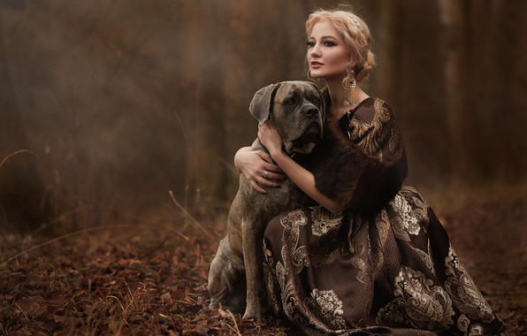Picture autumn, look, girl, decoration, nature, dog, earrings, dress, blonde, dog, Syrostan Oksana
