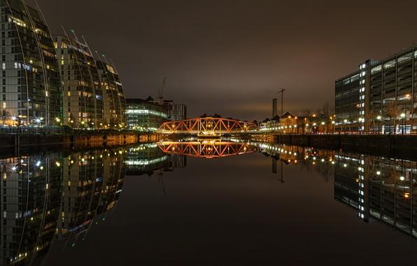 Picture night, bridge, the city, lights, river, building, home, lights, USA, Detroit, Detroit