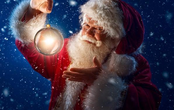 Picture winter, light, snow, ball, Santa Claus, Santa Claus