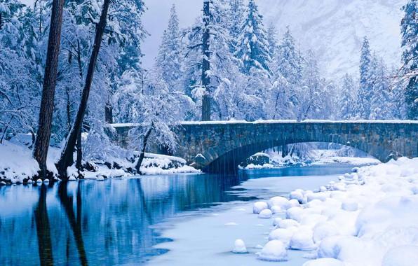 Picture winter, snow, trees, CA, USA, Yosemite National Park, the Merced river, Yosemite national Park, Stone …