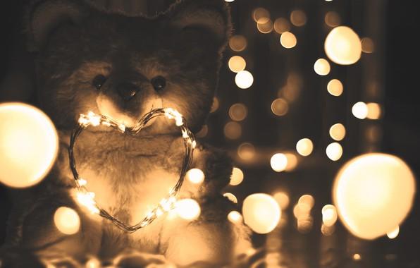 Picture lights, love, heart, romantic, mood, blur, bokeh, teddy bear, cute, garland, moods, 4k ultra hd …