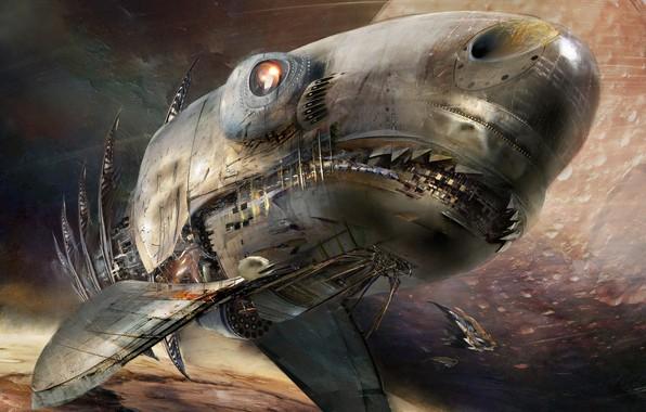 Picture Space, Shark, Shark, Fantasy, Art, Space, Art, Spaceship, Fiction, Daniel Dociu, Spaceship, Space Ships, by …