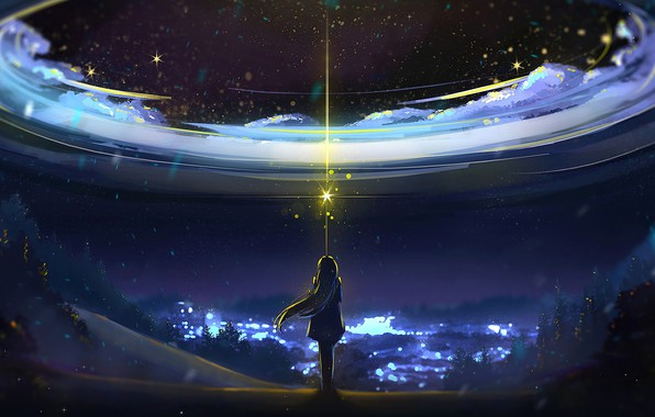 Picture Sky, Anime, Night, Scenery