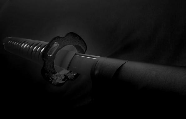 Picture black & white, sword, weapon, monochrome, samurai, b&w, Katana