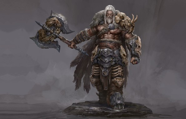 Picture warrior, fantasy, art, Russell Dongjun Lu, Wild Warrior