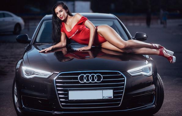Picture machine, auto, swimsuit, girl, pose, Audi, feet, figure, on the hood, Sergei Savin, Julia Chekanova