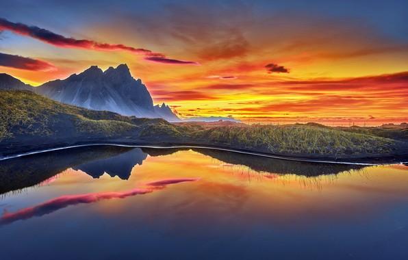 Picture sunrise, iceland, Vestrahorn