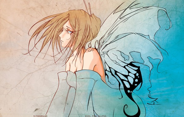 Picture eyelashes, fairy, neckline, blue eyes, shoulders, the wings of a butterfly, girl-butterfly