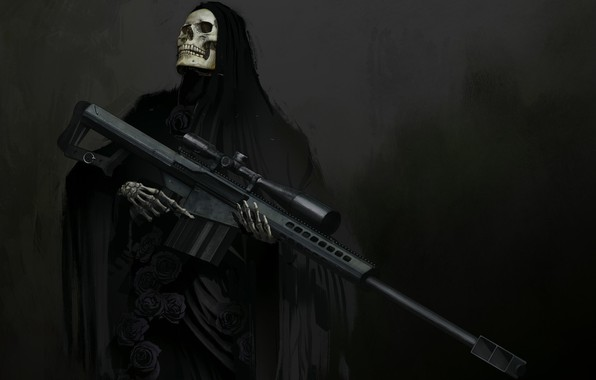 Picture weapons, skull, fantasy, art, skeleton, hood, sight, sniper rifle