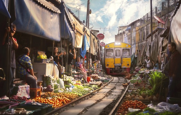 Picture the city, people, train, Thailand, Bangkok, market