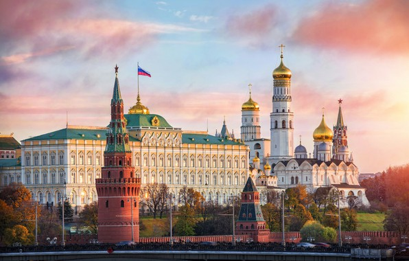 Picture Church, Moscow, the Kremlin wall, the capital of Russia, the flag of the Russian Federation, …