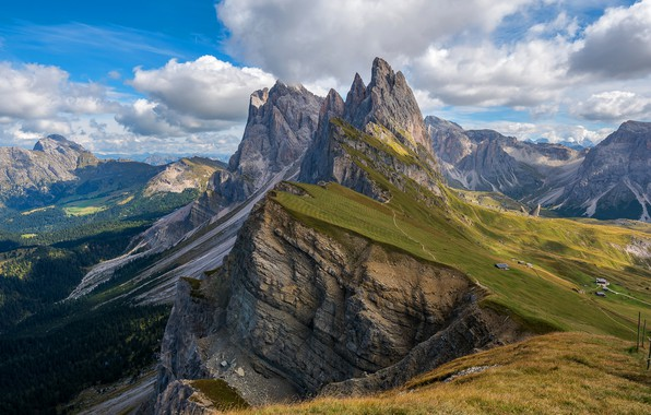 Picture the sky, grass, clouds, mountains, blue, open, rocks, the slopes, tops, view, height, Italy, houses, …