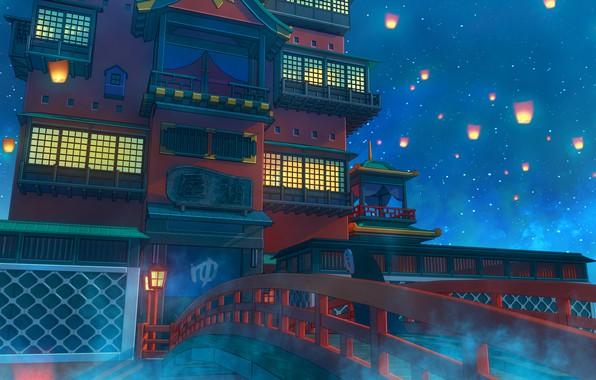 Picture Bridge, Night, Stars, Candles, Castle, The building, Architecture, Stars, Bridge, Night, Castle, Building, Architecture, Candles, …