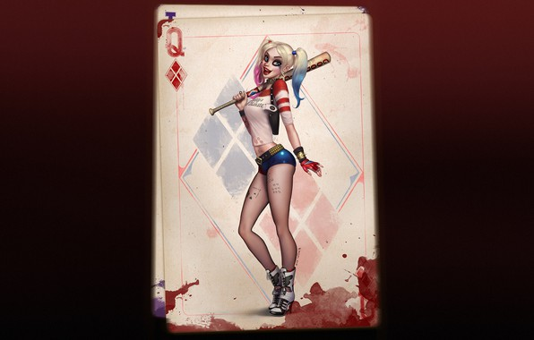 Picture Girl, Map, Harley, Art, Harley Quinn, Harley Quinn, DC comics, Quinn, Playing card, by Felipe …