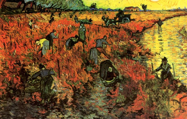 Picture the sun, river, horse, cart, Vincent van Gogh, The Red Vineyard, women work