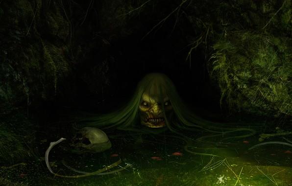 Picture swamp, art, fright, fantasy, Daniel Jiménez Villalba, Jenny Greenteeth