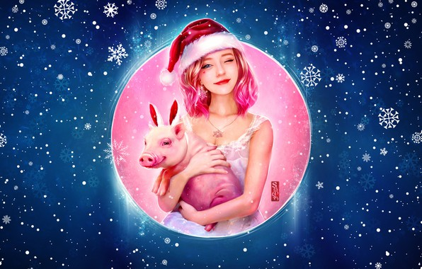 Picture Winter, Girl, Pig, Snow, Christmas, Snowflakes, Background, New year, Holiday, Art, Happy New Year, Christmas, …