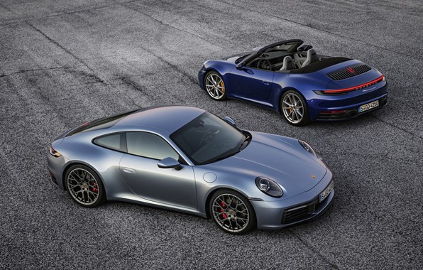 Picture blue, grey, coupe, 911, Porsche, convertible, Coupe, Cabriolet, Carrera 4S, 992, 2019
