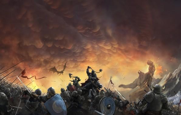 Picture The sky, Dragon, War, Armor, Clouds, Battle, Soldiers, Knights, Battle, Fantasy, Clouds, Sky, Dragon, Fiction, …