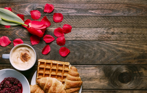 Picture flowers, gift, Breakfast, petals, red, red, love, flowers, romantic, tulips, coffee cup, valentine's day, croissants, …